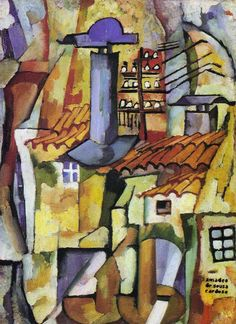 Amadeo de Souza-Cardoso was a Portuguese painter born in Mancelos, a parish of Amarante. Building Painting, Modernisme, Georges Braque, Art Database, Office Art, Contemporary Paintings, Cat Art, Art Blog, Vintage Posters