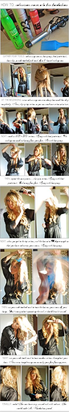 How To: Voluminous Waves  You need: Vol Mousse, Hairspray, Heat Protectant, Clips, WideComb, curling iron  *Use Mousse on damp hair and blow dry Clip in sections  *Work in 1/2 sections. Spray w/ heat p. curl away from face. Set with hair spray  *When you get to top, curl at 90 degree angle. spray with hair spray  *tease hair on crown, bangs etc  *Straighten hair only around face frame.