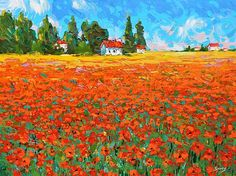 nice Field with poppies - LANDSCAPE Oil palette knife on canvas Painting by Dmitry Spiros Best gift Impressionism