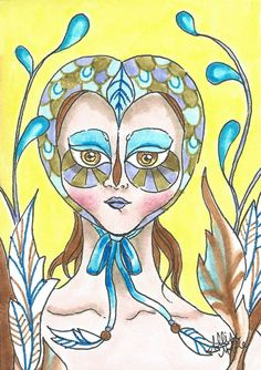 Original ACEO - Owl Pop Surrealism Retro Girl Big Eyes Feathers Ink Drawing  #Surrealism