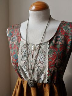 ♥ Dark Red and Green Deco Paisley Floral Lace Dress...Just listed, $38.00 ♥