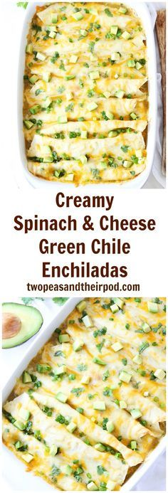 Creamy Spinach and Cheese Green Chile Enchiladas Recipe on twopeasandtheirpod.com These cheesy enchiladas make a great dinner!
