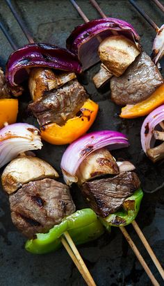 What's a summer grill without beef kebabs? Top sirloin chunks, marinated in soy sauce, garlic, ginger, olive oil marinade, grilled with onions, mushrooms, bell peppers.