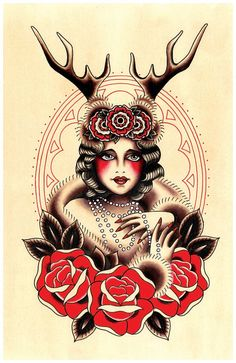Vintage Darling Deer, Flapper Tattoo Print by Stacey Martin Smith