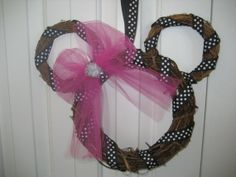 diy mickey mouse decorations | Minnie Mickey mouse wreath party decoration clubhouse pink black polka ...