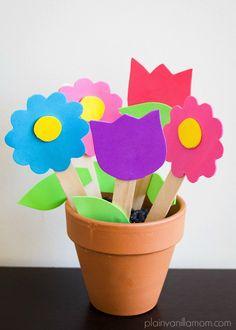 Foam Flower Garden Craft Tutorial. Perfect spring flower craft for kids.