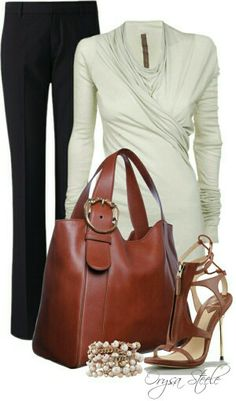 #workoutfit #brownbag #brownshoes #whiteblouse #blackpant #inspirate