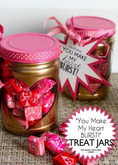 Starburst Valentines made from peanut butter jars!  @Angie Jimenez  different opening and different colors