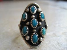 Vintage Navajo Ring  Turquoise and Sterling Silver  by Anteeka, $72.50