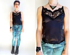 80s Clothes/ 80s Black Camisole Vintage Cami by trashedbytime