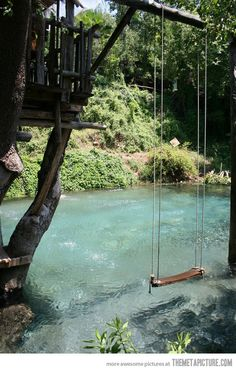 Swimming pool designed to look like a pond.. now that's just god damned genius!