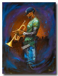 Blue Notes by Frank Morrison (Limited Edition Art Print) African American Artwork, American Artists, African Art, Arte Jazz, Jazz Art, Arte Pop, Frank Morrison Art, Arte Black, Black Art Pictures