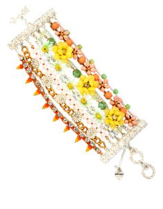 BETSEY JOHNSON Mixed Colored Bead Multi Row Toggle Bracelet
