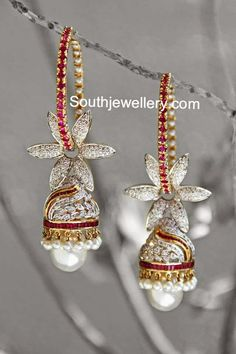 Unique Ruby Diamond Jhumkas