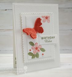 Week 8 of the Colour Creations Showcase by the Art With Heart team. The gorgeous butterfly is from the Butterfly Wishes stamp set and coordinates with the Butterfly Duet Punch. This was my card for Week 8 - showcasing Calypso Coral.
