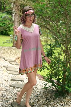 """This  """"Blossom"""" is a handmade short sleeve cotton knit tunic top / dress with lace"""