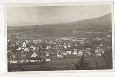 1922 RPPC Aerial View of KINGFIELD MAINE Vintage ME Real Photo Postcard