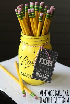 Fabulous and creative teacher gift with a mason jar and pencils.