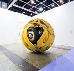 Indonesian artist Ichwan Noor arrived at Art Basel Hong Kong with a strange sculpture of a 1953 VW Beetle formed into a perfect sphere.