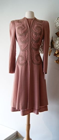 Early 1940s wool coat-and-dress set with soutache and trapunto detailing. Etsy seller xtabayvintage.
