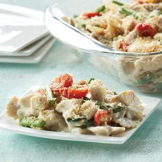 Creamy Baked Farfalle with Chicken, Asparagus & Tomatoes