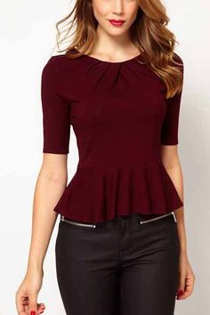 You would better check this blouse, please. Featuring dark red solid color, pleated trim, half sleeves, a round and pleated neck. It very chic and pretty.