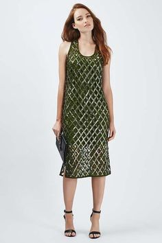 Limited edition all-over cross diamond shape cut-out and embellished with green beads in a midi length. #Topshop