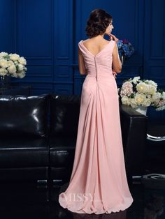 A-Line/Princess Sleeveless V-neck Beading Floor-Length Chiffon Mother Of The Bride Dresses