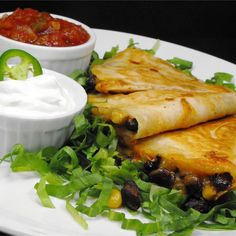 """Black Bean and Corn Quesadillas I """"Wow these are good and really fast and easy to make!"""""""