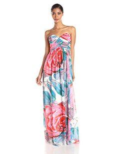 Donna Morgan Women's Laura Strapless Long Chiffon Printed Dress   Fashion Finds from Selena