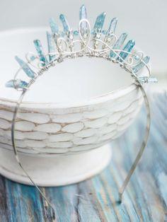Atlantida silver tiara crown with blue quartz crystals - MoonDome - 3