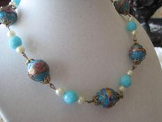 Vintage Aqua Venetian Glass and Pearl Necklace by VintagObsessions, $20.00