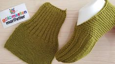 Men and Women booties handmade two skewers - Patikler - Knitted Booties, Crochet Boots, Knitted Slippers, Knit Crochet, Baby Knitting Patterns, Knitting Designs, Knitting Videos, Knitting Socks, Youtube Youtube