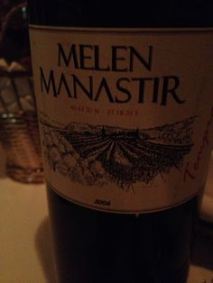 MELEN MANASTIR 2006Using tempranilla grapes from Spain. Had with pear and Roquefort salad to start, plat- grilled seabass kebabs@Agatha, Pera Palace Istanbul December 2014