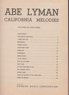 ABE Lyman California Melodies 16 Songs Piano Sheet Music Words Guitar Chords   eBay