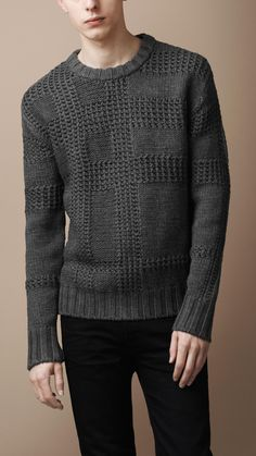 0eb8a0637aa Textured Check Merino Sweater | Burberry Sweater Cardigan, Mens Knit Sweater,  Man Sweater,