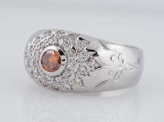 Men's Vintage Wedding Band Mid-Century GIA .27ct Orange Round Brilliant Diamond in Platinum. Minneapolis, MN.