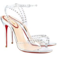 Pre-owned Christian Louboutin Silver Pump ($400) ❤ liked on Polyvore featuring shoes, pumps, heels, silver, christian louboutin pumps, pre owned shoes, silver shoes, heels & pumps and silver heel shoes