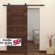 Top Hung RUSTIC Sliding Barn Door System Hardware to suit wood door Made in UK