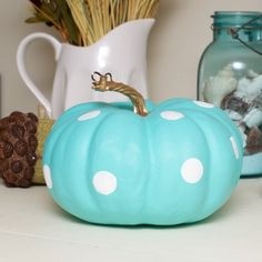 Tiffany Inspired Painted Pumpkin for 2014 Thanksgiving - diy decor, fall decor  #2014 #Thanksgiving #pumpkin #centerpiece