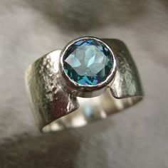 33% OFF SALE Mystic Topaz Ring Round Blue Topaz by SavvySilver