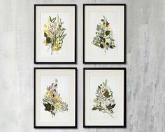 Pressed botanical art Set of 4 original dried flowers artworks #pressedflowers #plants #setof4 #flowers #leaves #driedflowers