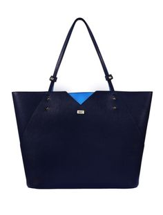 Veronica Tote in Navy Saffiano Leather