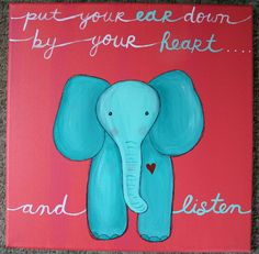 Original ELEPHANT PAINTING on 12 x 12 inch canvas NURSERY art baby childrens room decor baby shower gift on Etsy, $18.00