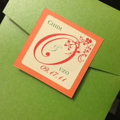 Hot green pocket wedding invitation