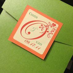 Hot green pocket wedding invitation