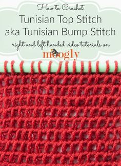 Learn how to crochet the Tunisian Top Stitch and Tunisian Bump Stitch on Mooglyblog.com!
