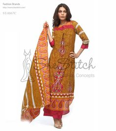 Price: $12 - ST-8867C by Shariq Textile features 3-quarter sleeves and round neck with stylish print at front and back