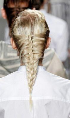 Get The Look: Glossy Cage Herringbone Braid From SUNO Spring 2015 New York Fashion Week Show #nyfw