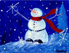 snowman art | SNOWMAN HAPPY HOLIDAYS BY JAMIE CARTER | HOLIDAYS | Pinterest